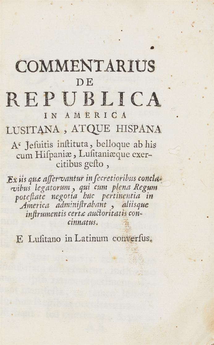 S. J. de Pombal, Commentariius de Republica in America... (um 1760)