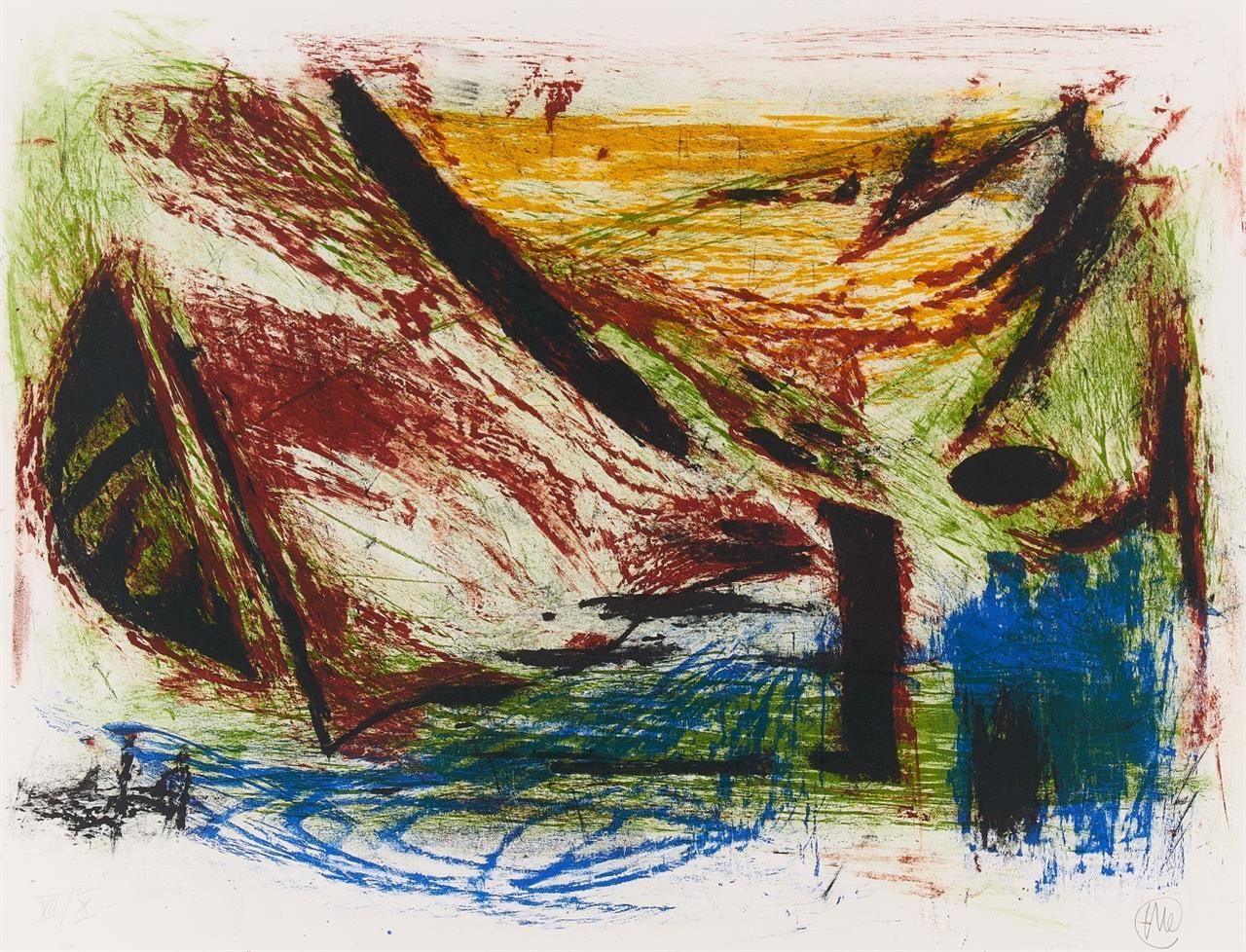 Markus Lüpertz. Ohne Titel (Boot). 1980/81. Farblithographie. Monogrammiert. Ex. VII/X.