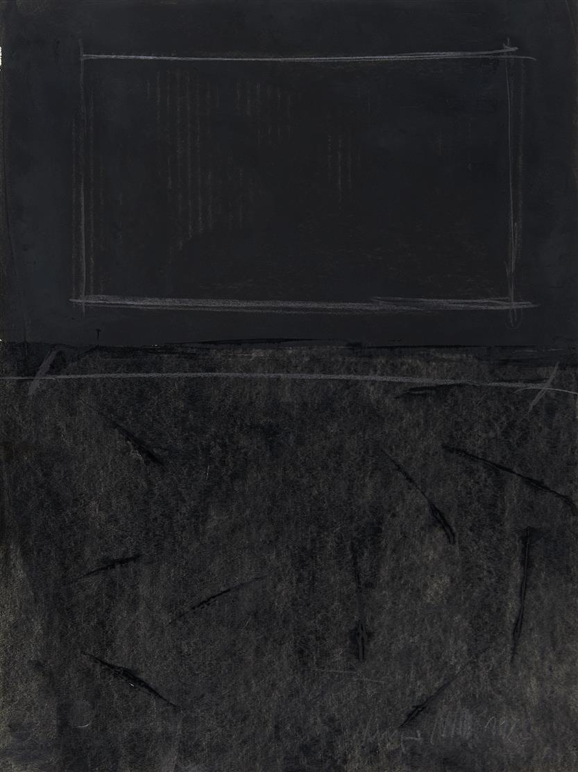 Ansgar Nierhoff. Ohne Titel. 1983 / Ohne Titel 1983. 2 Blatt Mischtechnik mit Tusche und Graphit. Je signiert.