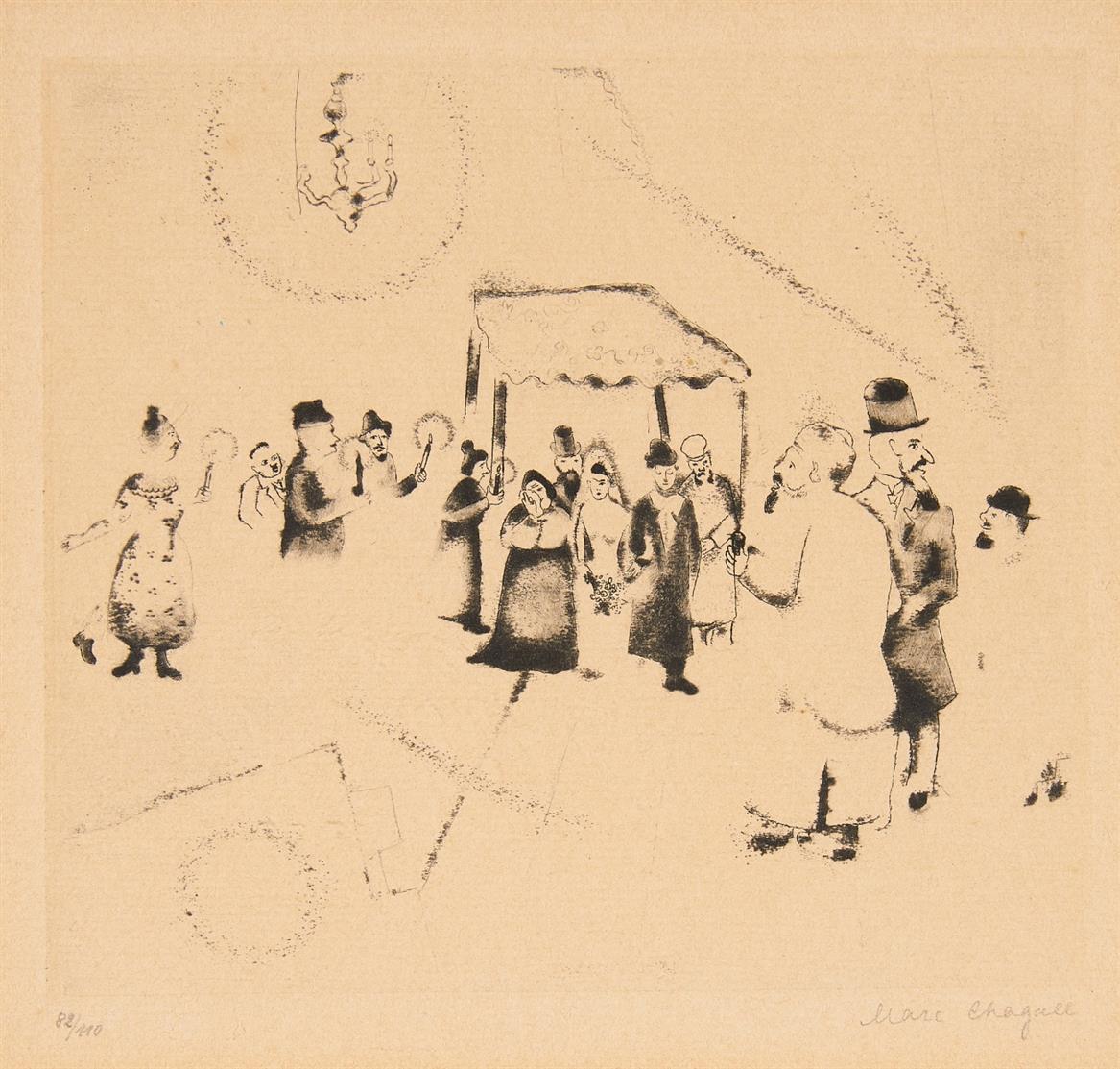 Marc Chagall. Hochzeit. Blatt 16 aus der Folge 'Mein Leben'. 1922 (1923). Radierung. Ex. 82/110.
