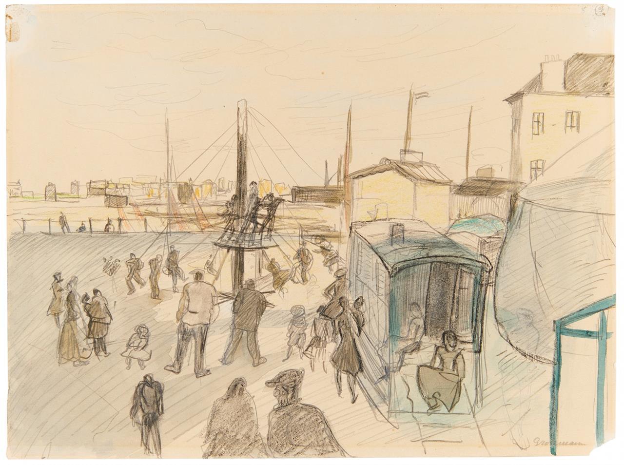 Rudolf Grossmann. Hafenszene (Ostende). Bleistift mit Aquarell und Buntstift. Signiert.