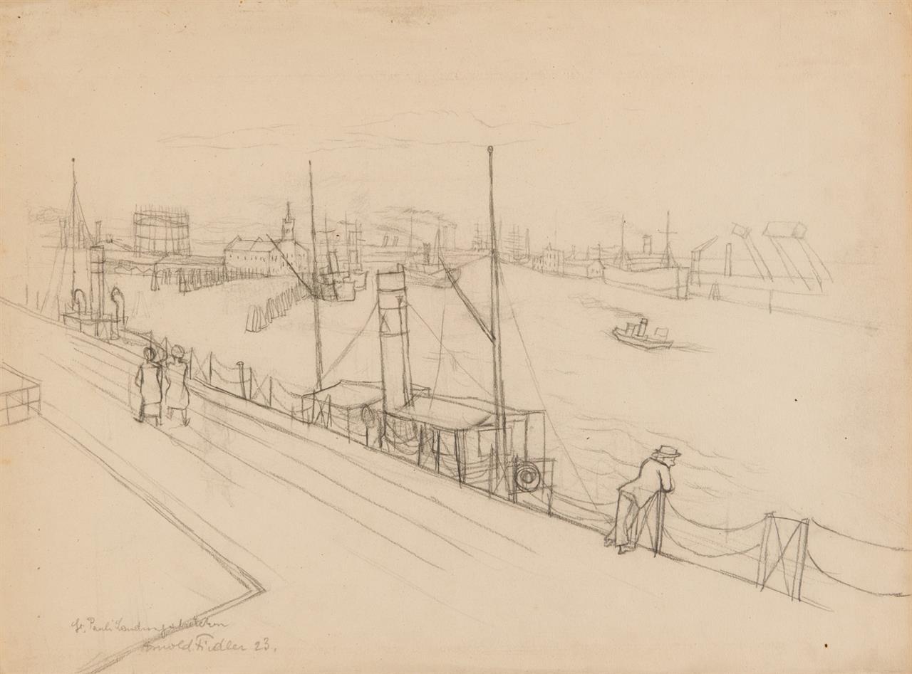 Arnold Fiedler. St. Pauli Landungsbrücken. 1923. Bleistift. Signiert.