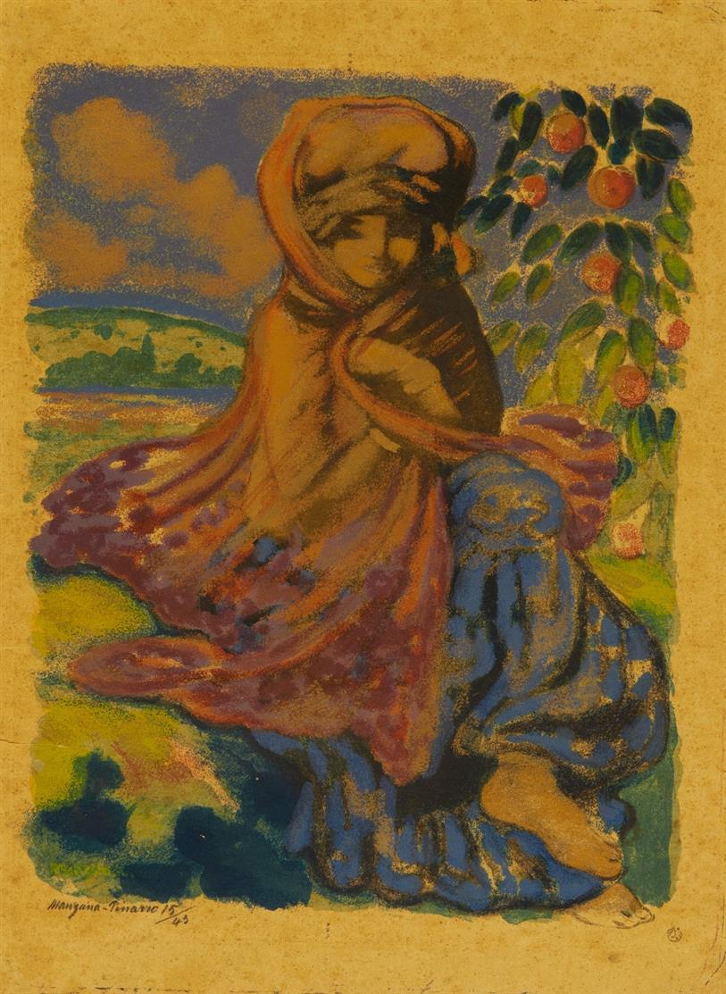 Georges Manzana-Pissarro. L'adolescente orientale. Um 1900. Farbzinkographie. Signiert. Ex. 15/43.