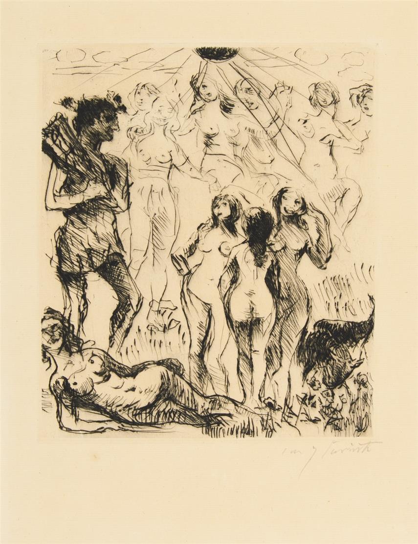 Lovis Corinth. Apollo und die Musen. 1923. Kaltnadelradierung. Signiert. Müller 695.