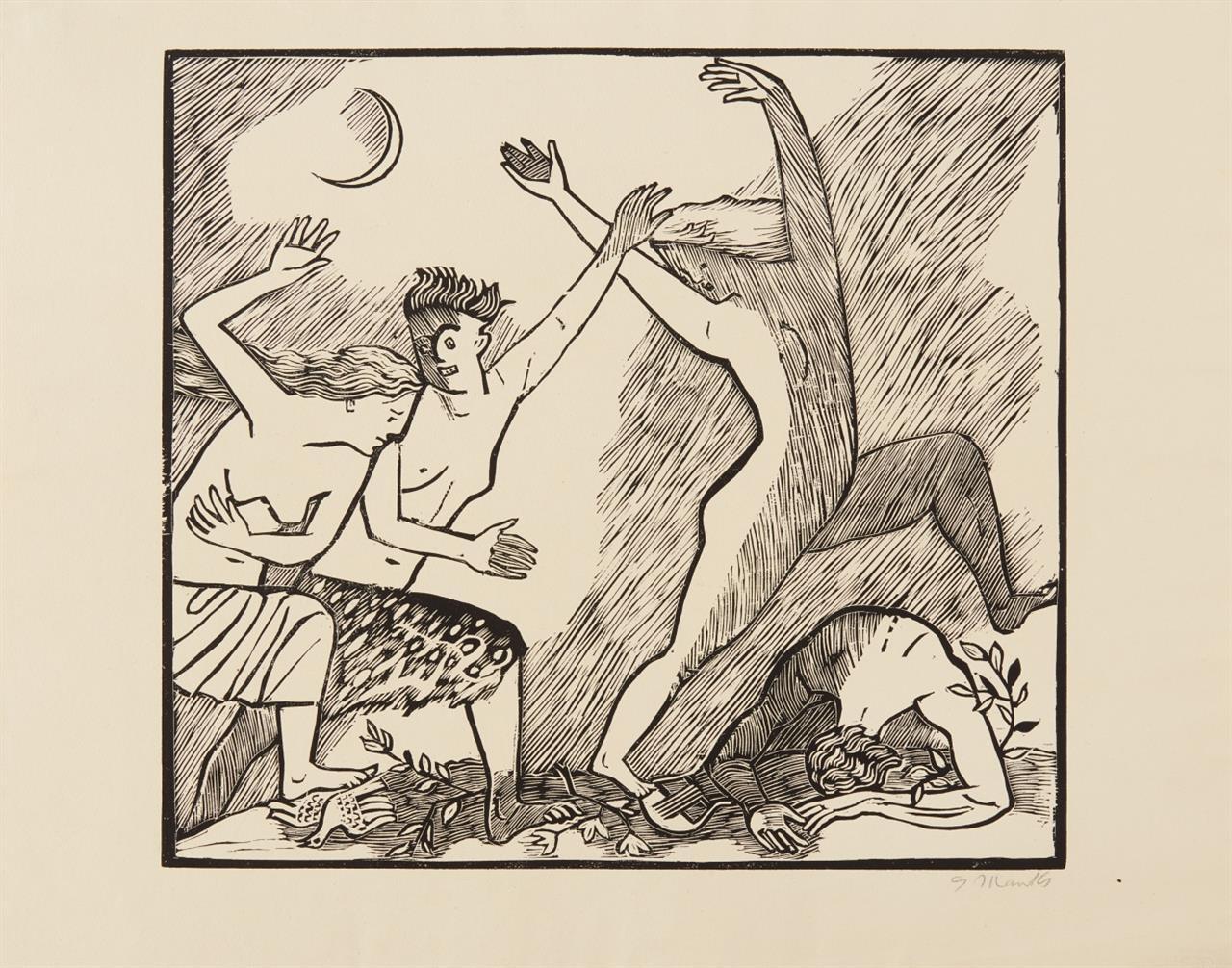Gerhard Marcks. Tod durch Mänaden. 1947/48. Holzschnitt. Signiert. L 180.11 / Dazu: 2 Beilagen.