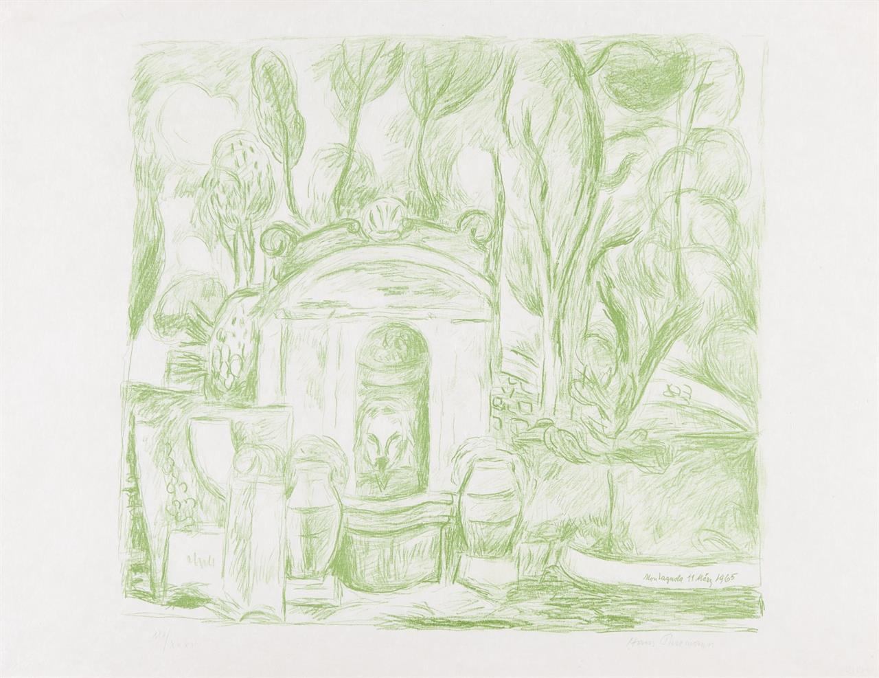 Hans Purrmann. Brunnen in Levanto (Montagnola). 1965. Lithographie in Grün. Signiert. Ex XXX/XXXV. Heilmann 123. / Dasselbe. Ex. 32/65.