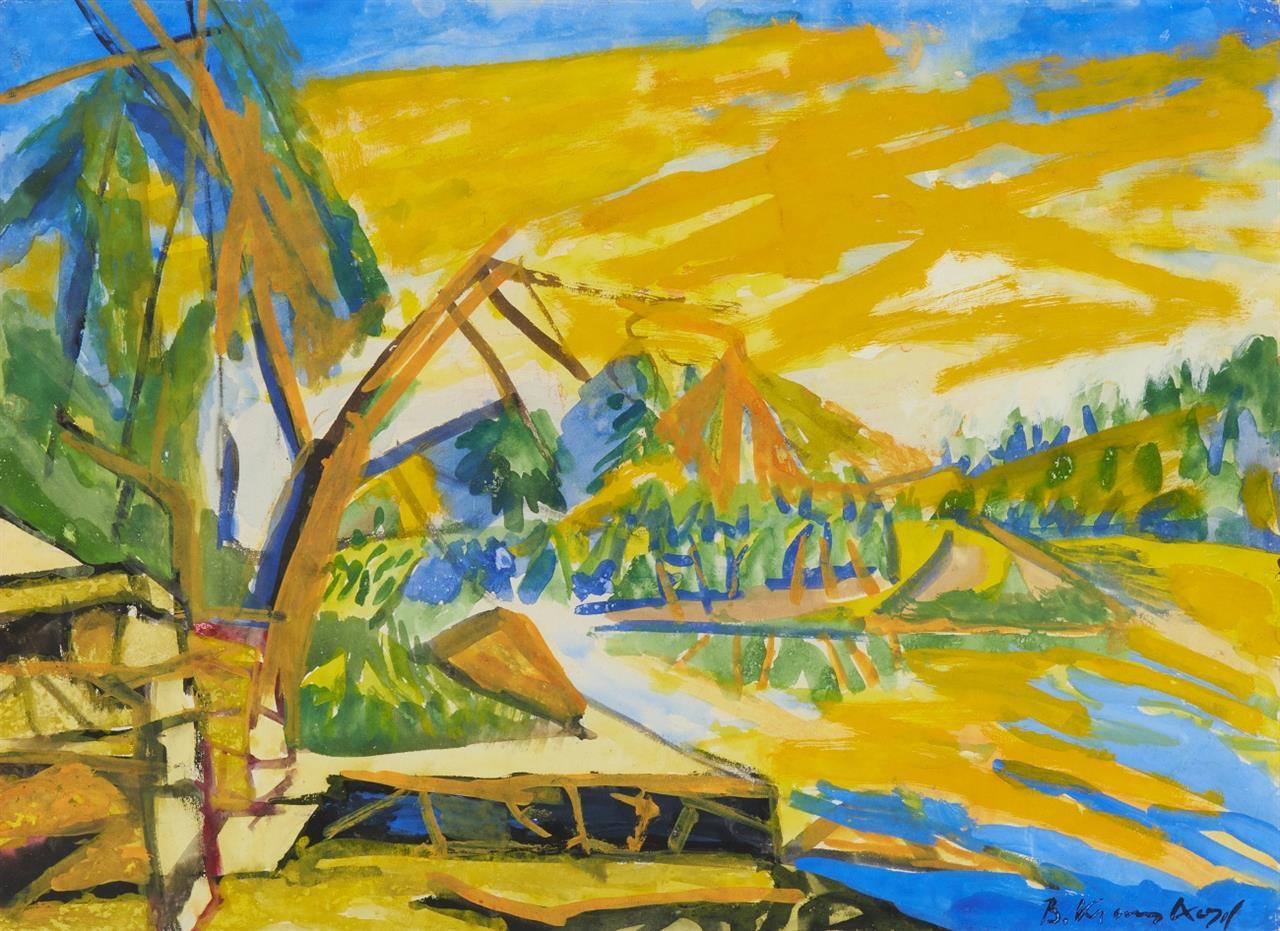 Bruno Krauskopf. Amerikanische Landschaft. Um 1950. Aquarell. Signiert.