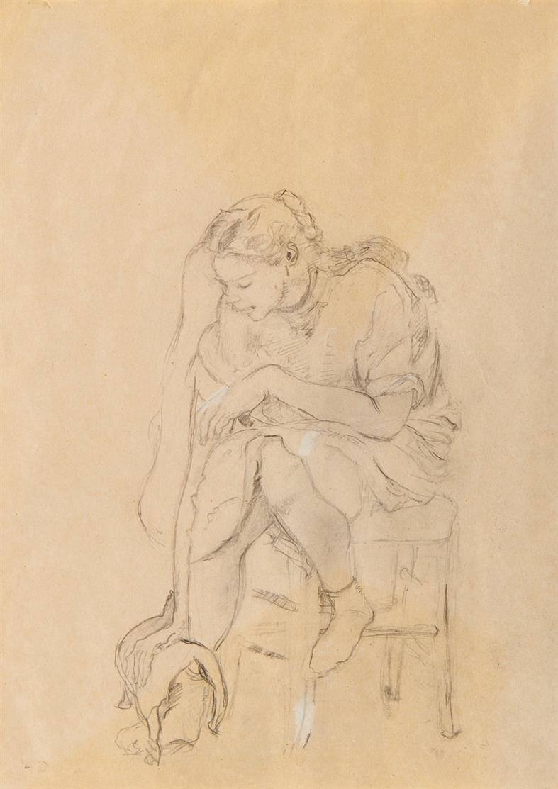 Marie-Luise Lebschik. Dalia mit Katze. 2003. Bleistift auf Papier.