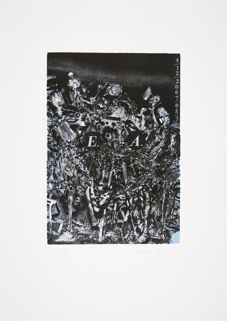 Fünf Jahre Lithographisches Atelier Leipzig 2009. Mappenwerk mit 7 Blatt Or,.Graphiken (Rauch, Loy, Weischer etc.). Signiert. Ex. 15/20.
