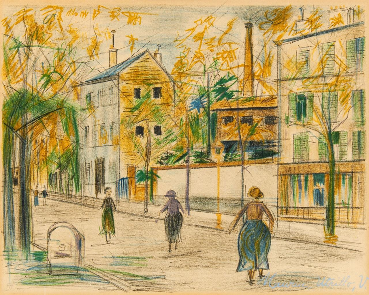 Maurice Utrillo. Vers Franconville. Farblithographie. Ex. III/XX.
