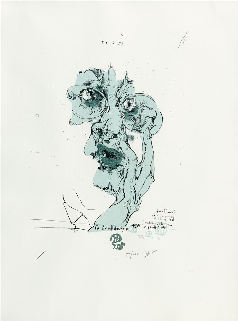 Horst Janssen. Für Brockstedt. 1982 (1985). Farblithographie. Signiert. Ex. 91/100.