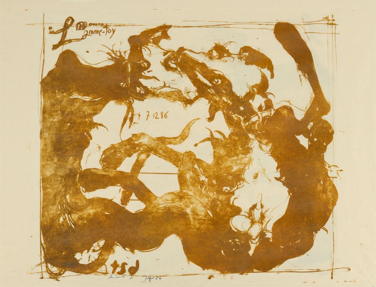 Horst Janssen. Lamme-Toy. 1986. 3 Blatt Lithographien in Schwarz, Braun bzw. Grau-Braun. Je signiert. Probe- bzw. Andruckexemplare.