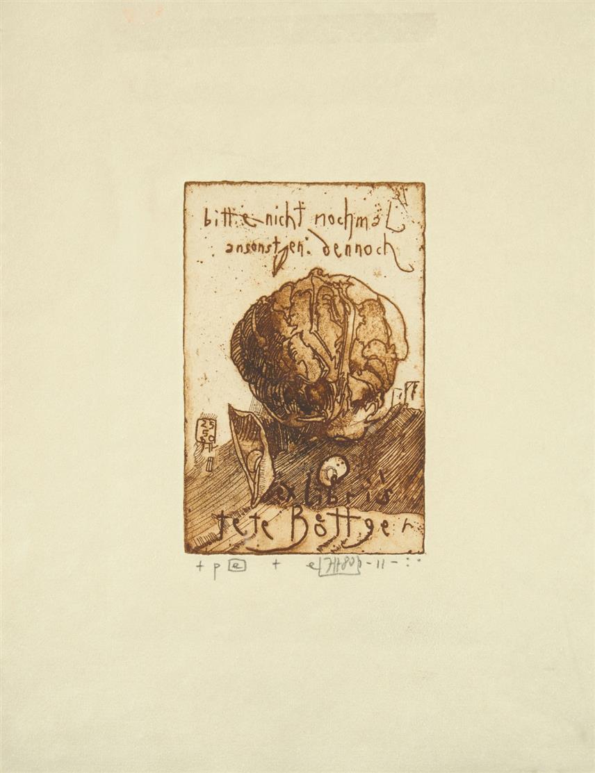 Horst Janssen. Landschaft Redon / Norwegische Landschaft / Riff / Exlibris. 4 Blatt Radierungen. Jeweils signiert. + Beilage: 6 Bücher, eines mit monogrammiertem Vorsatz.