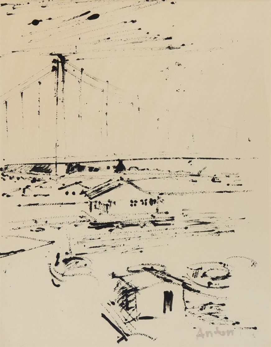Anton Räderscheidt. Rheinbrücke. Gouache in Schwarz. Signiert.