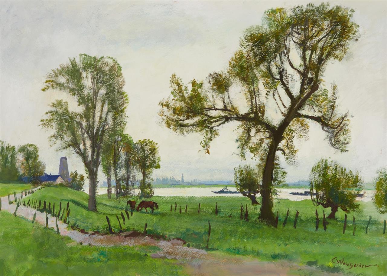 Carl Weisgerber. Flusslandschaft mit Pferden. Gouache. Signiert.