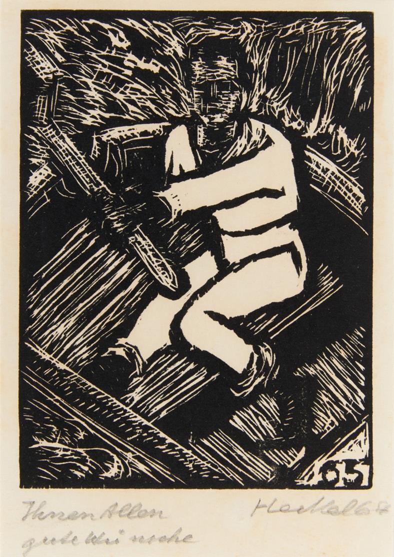 Erich Heckel. 34. Jahresblatt: Steuermann. 1964. Holzschnitt. Signiert. D. H 451a.II.