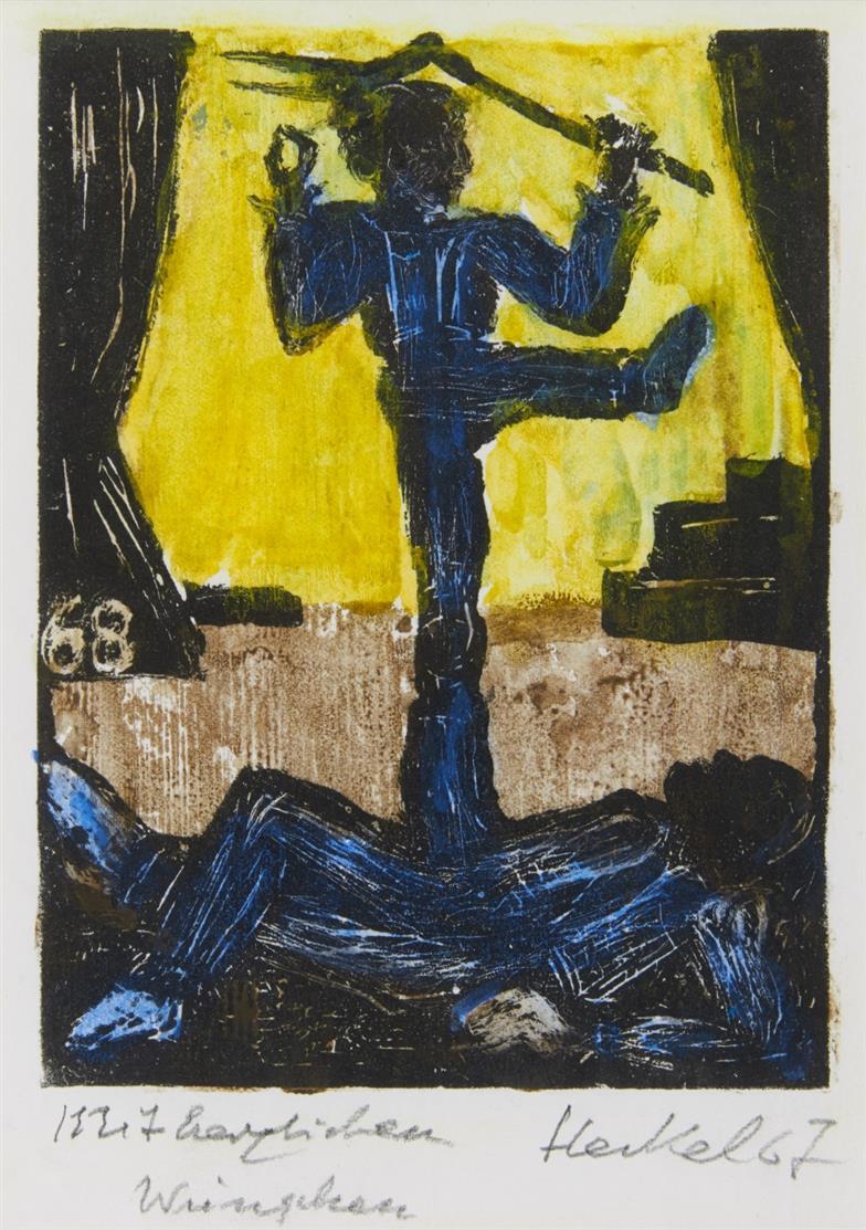 Erich Heckel. 37. Jahresblatt I: Akrobaten. 1967. Aquarellierter Holzschnitt. Signiert. D. H 458 (vgl. b).