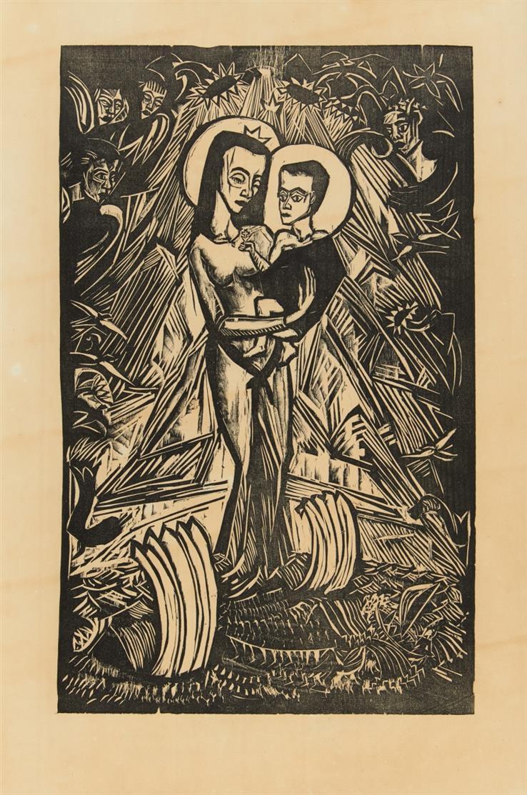 Erich Heckel. Madonna von Ostende. 1916. Holzschnitt. D. H 303.