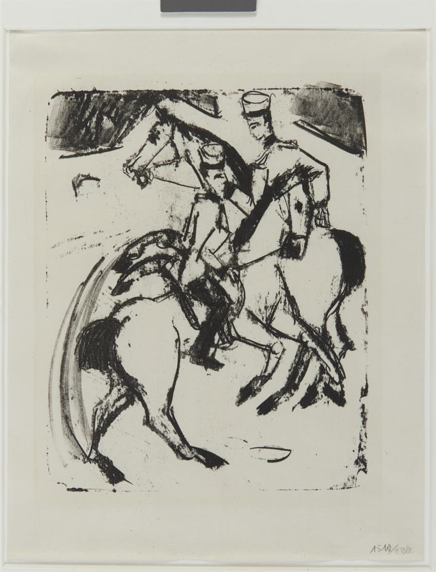 Ernst Ludwig Kirchner. Zwei reitende Artilleristen. 1916. Lithographie. D. L 308.