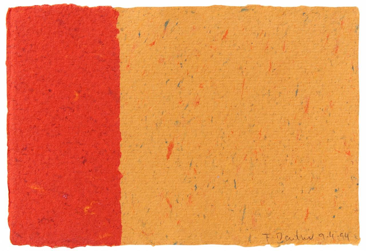 Frank Badur. Ohne Titel. 9.4.94. Collage in Rot und Orange. Signiert.