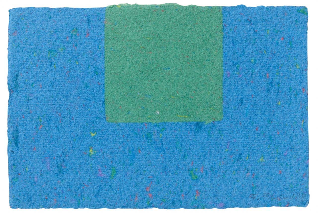 Frank Badur. Ohne Titel. 1998. Collage in Blau und Grün. Signiert.