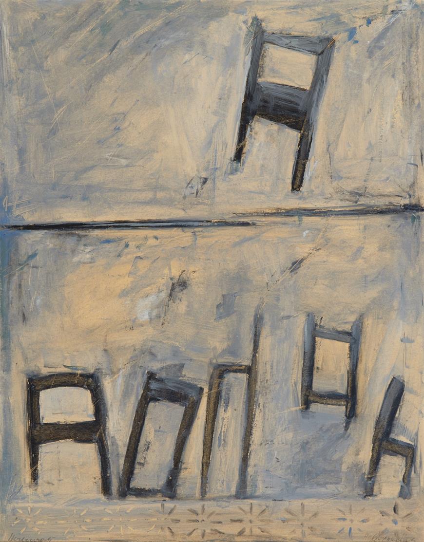 Peter Herkenrath. Ohne Titel (Stillleben) / Ohne Titel (Stühle). 2 Blatt Öl auf Papier. Jeweils signiert.