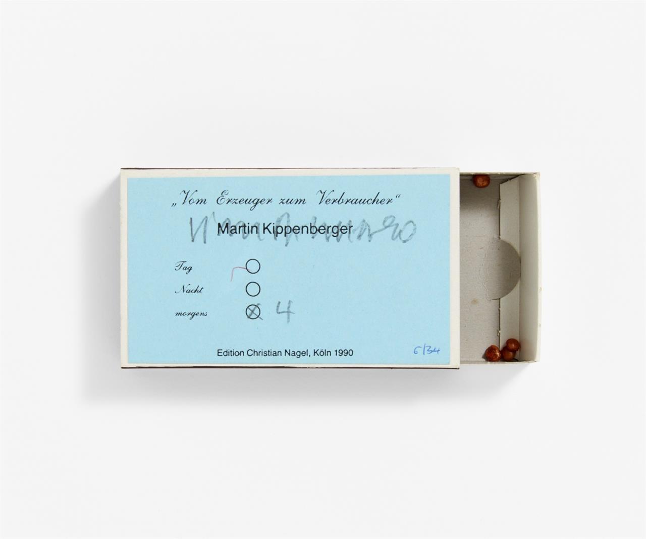 Martin Kippenberger. Vom Erzeuger zum Verbraucher. 1990. Streichholzschachtel, Gießharz. Signiert. Ex. 6/34.