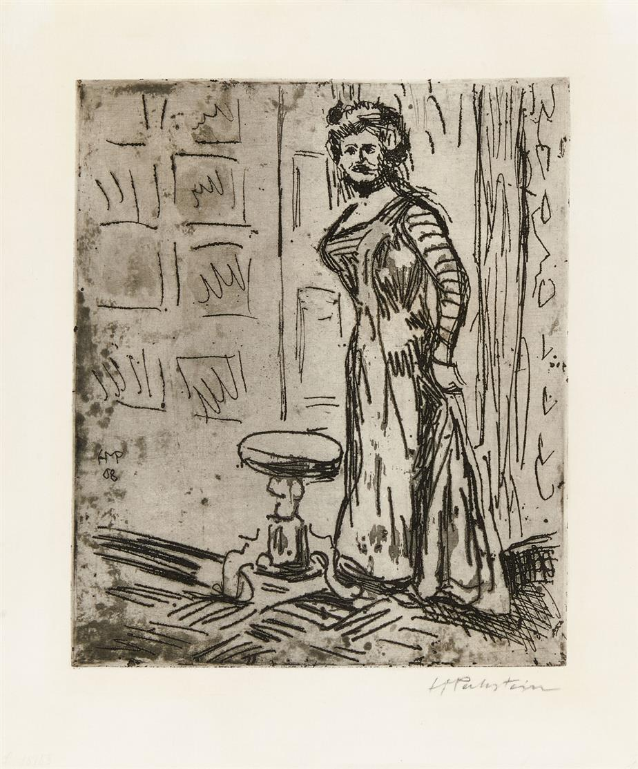 Hermann Max Pechstein. Frau an der Türe. 1908. Kaltnadel und Ätzung.