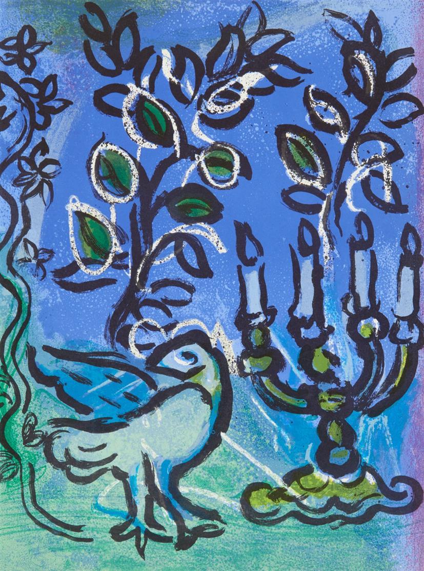 Marc Chagall. 2 Bl. aus: Vitraux pour Jérusalem 1962 / 1 Bl. aus: Chagall Lithographe.1963. Zus. 3 Blatt Farblithographien. Cramer aus 49 (2x), 56.