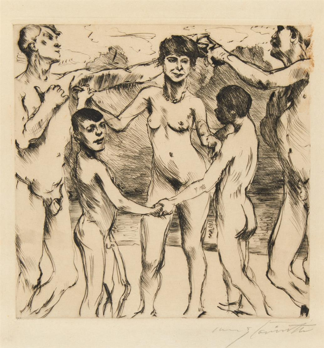 Lovis Corinth. Tanzende am Strand.1917. Radierung. Signiert. Eines von 40 Ex. Schwarz 308 IV.