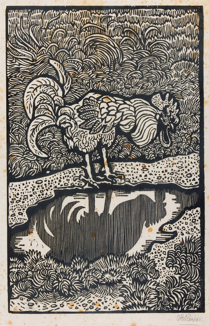 Otto Pankok. Hahn an der Pfütze (Die Pfütze), 1960. Holzschnitt. Signiert. Eines von 7 Ex. Zimmermann WH 637.
