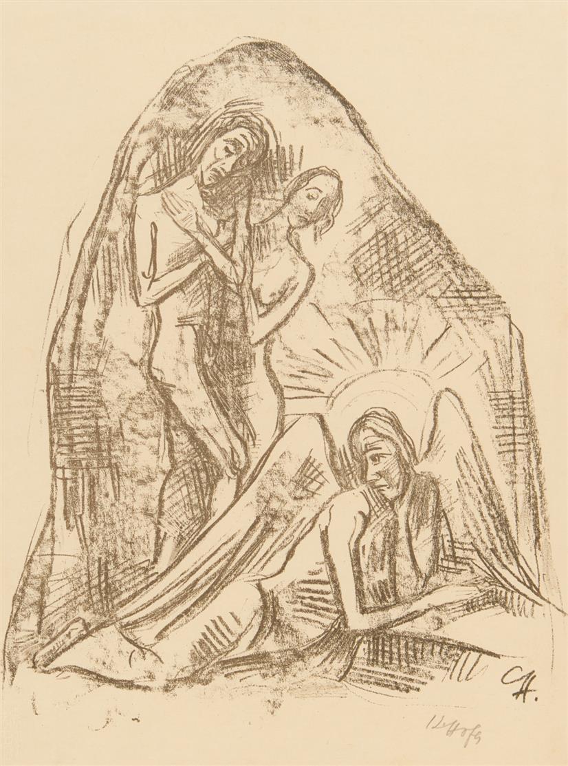 Karl Hofer. Auferstehung. 1919. Lithographie. Signiert. Dazu: Feierabend. 1899. Aquatinta. Nicht signiert. 2 Blatt. - Rathenau R6, L7.