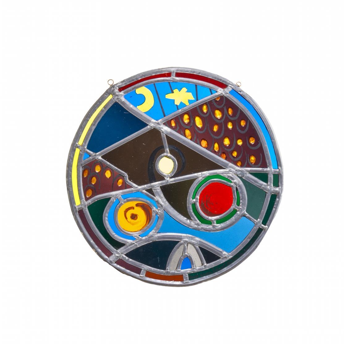 Ida Kerkovius, nach. Kosmisches II. Sonne, Mond und Sterne. 2 Glasfenster mit Bleiverglasung, teils bemalt, nach Entwürfen aus den 1960er Jahren. Ex. 19 bzw. 15/30. Mit Schwarzlot bezeichnet.