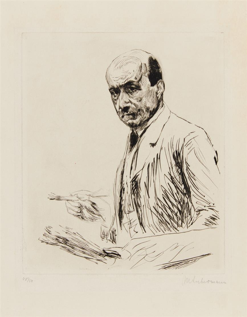 Max Liebermann. Selbstporträt mit Palette. 1911. Kaltnadelradierung. Signiert. Schiefler 117.