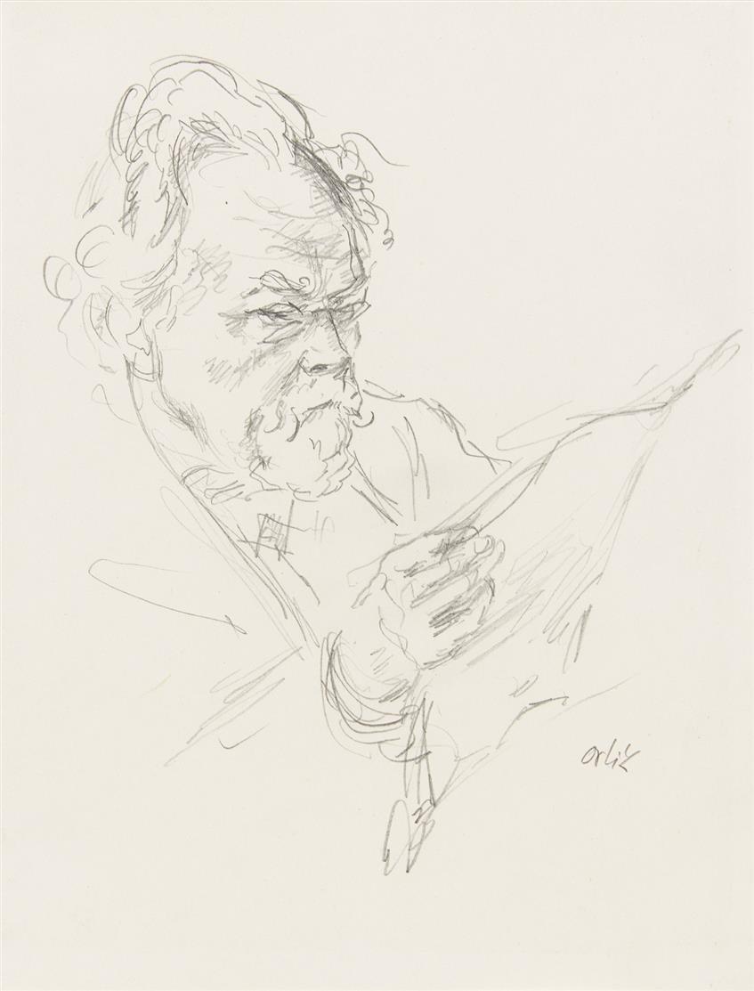 Emil Orlik. Männerbildnis. Bleistift. Signiert.