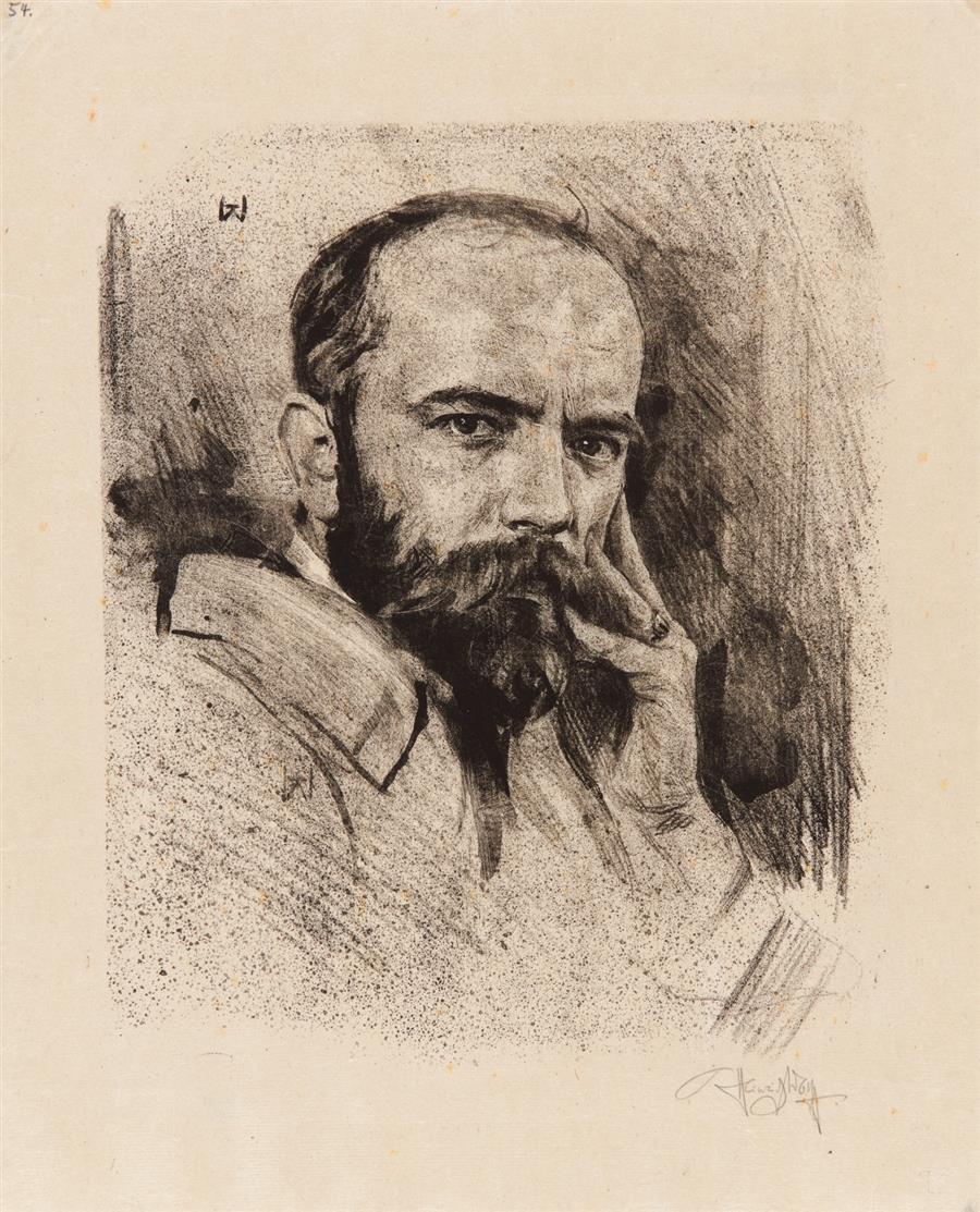 Heinrich Wolff. Männerporträts. 3 Blatt Lithographie (1)  bzw. Radierungen (2). Signiert.
