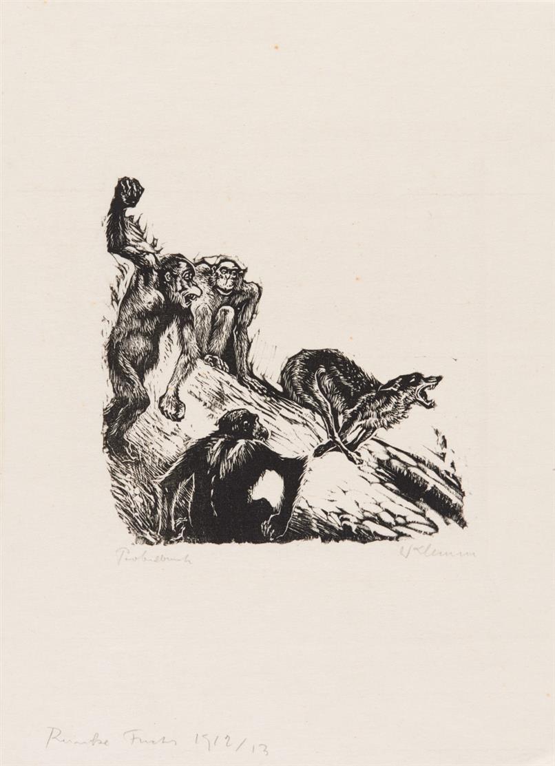 Walther Klemm. 18 Blatt Holzschnitte, Lithographien etc. (aus Simplicissimus, Reineke Fuchs, Robinson etc). Je signiert.