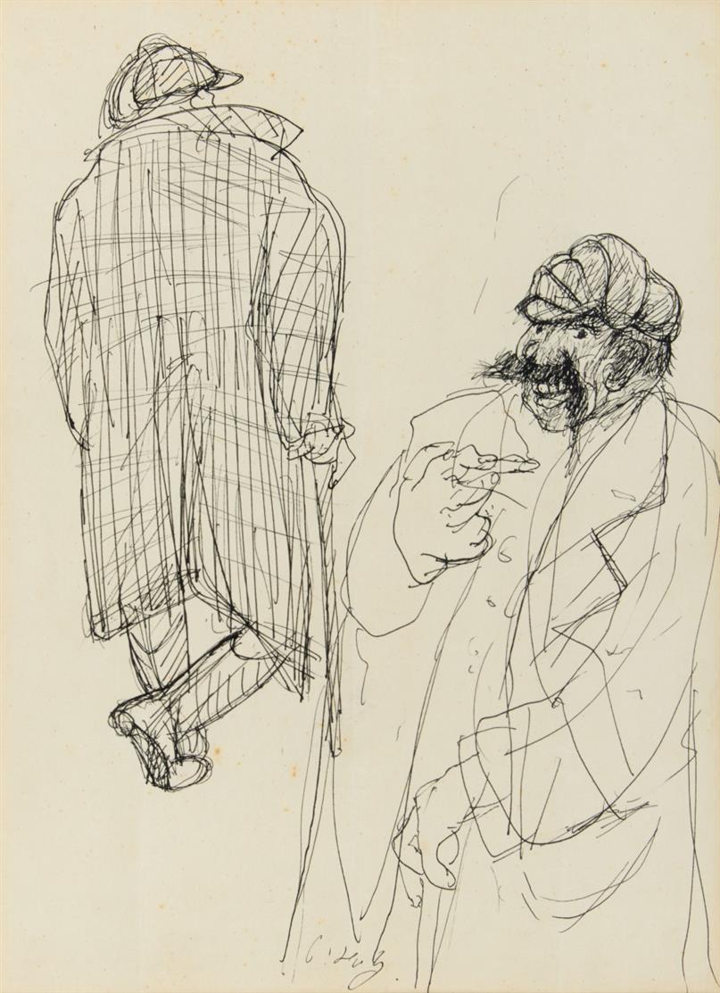 Paul Holz. Zwei Figuren. Federzeichnung. Signiert.