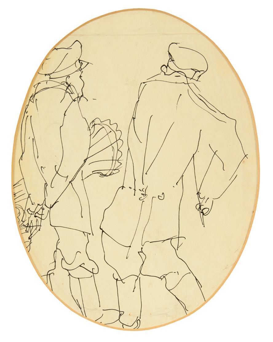 Paul Holz. Zwei Figuren (im Oval). Federzeichnung. Nicht signiert.