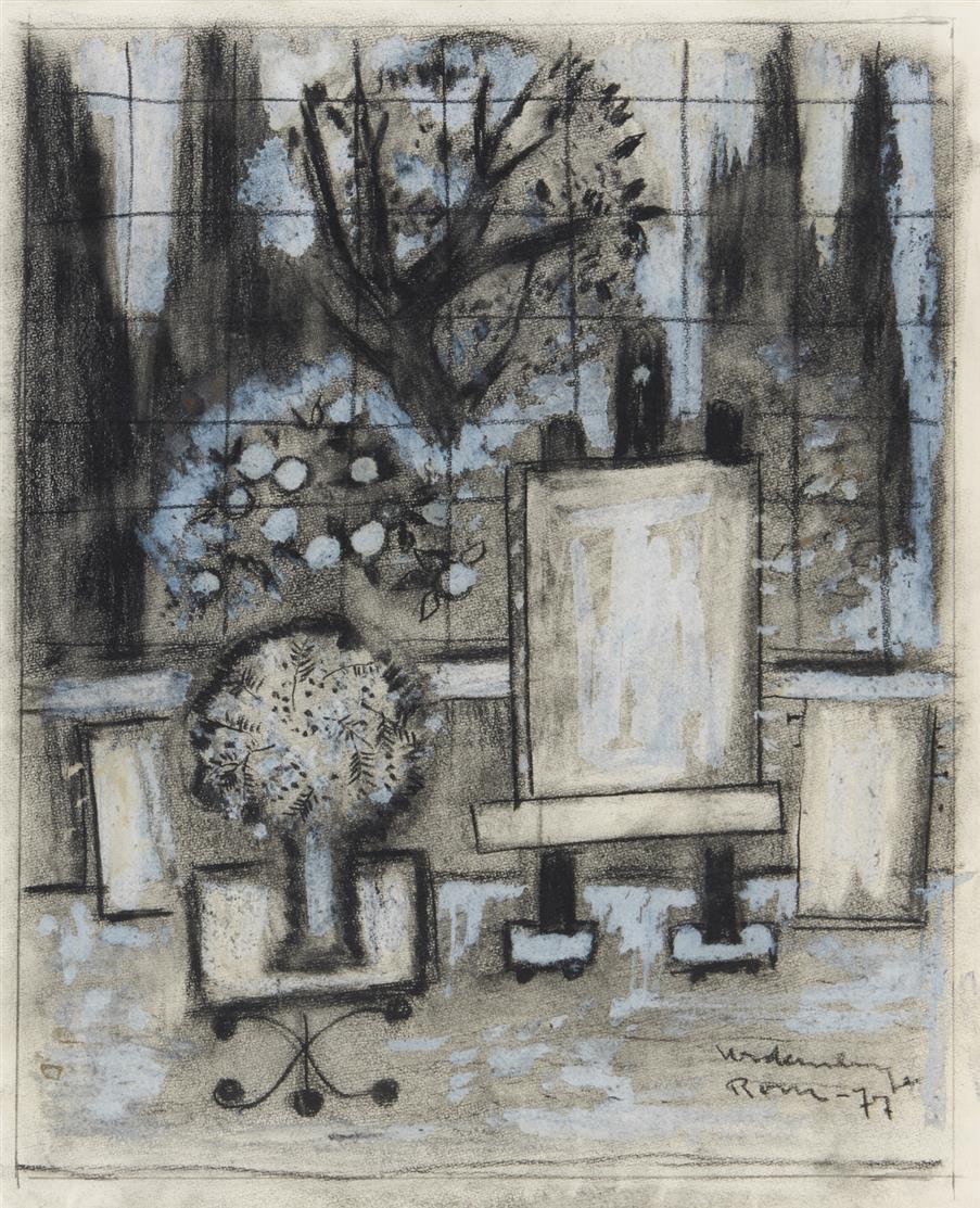 Friedrich Vordemberge. Atelier mit Blick in einen Park. 1977. Kohle, Deckweiß. Signiert.