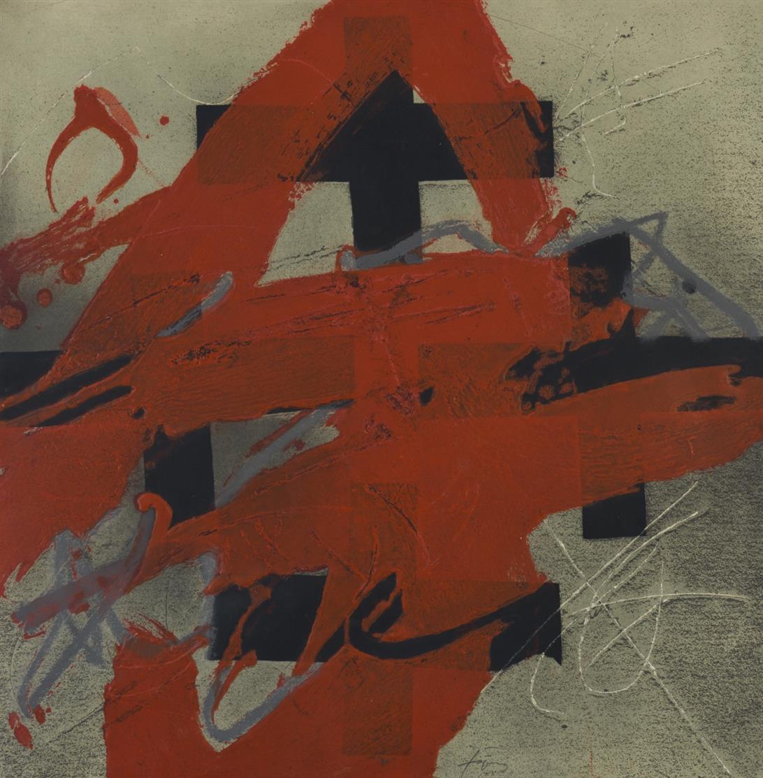 Antonie Tàpies. Cobert de roig. 1984. Farbradierung, mit Relief und Grattage. Signiert. Ex. 18/99. Galfetti 960.