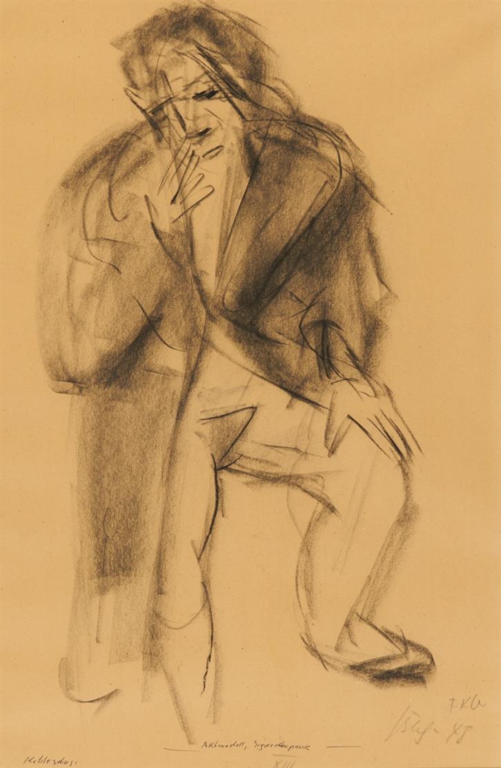 Friedrich Karl Gotsch. Aktmodell, Zigarettenpause.1948. Kohle. Signiert u. monogrammiert.