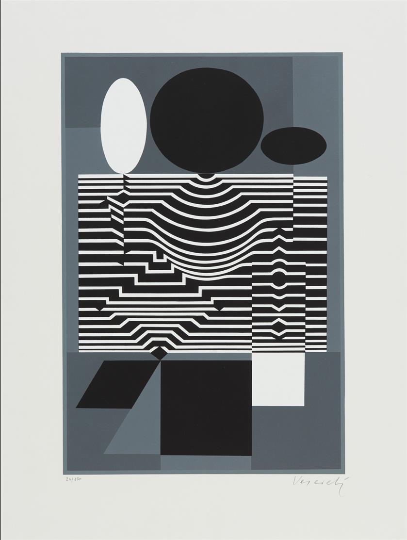 Victor Vasarely. Ohne Titel. Farbserigraphie. Ex. 24/150.