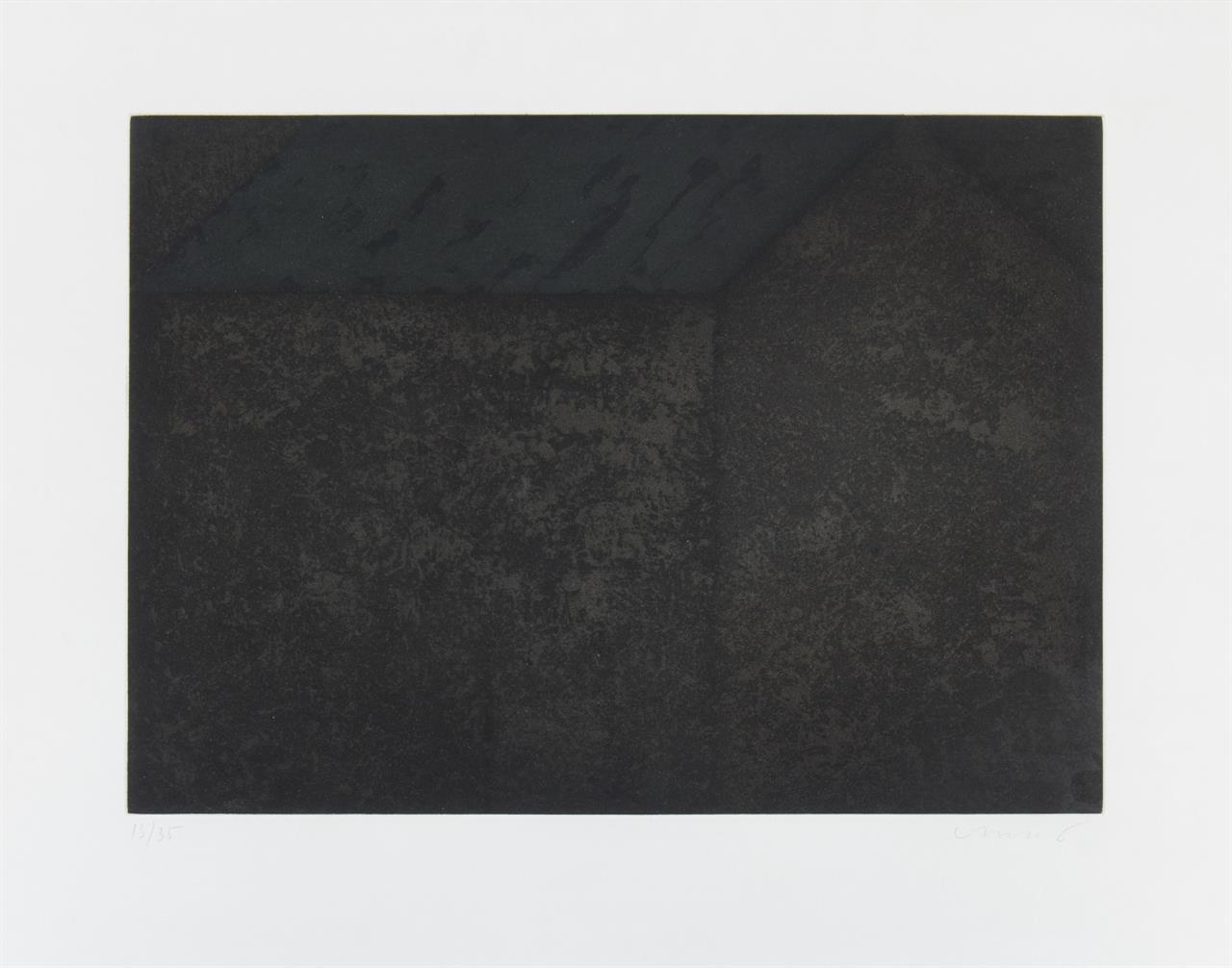 Horst Antes. Haus mit grauem Dach. 1993. Aquatintaradierung in Schwarz und Grau. Signiert. Ex. 13/35.