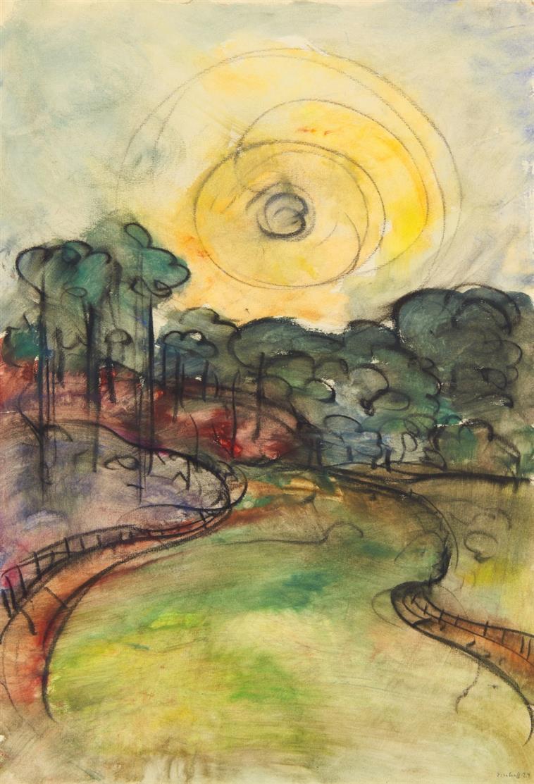 Friedrich G. Einhoff. Landschaft mit breitem Weg und Sonne. 1924. Aquarell und Kohle. Signiert.