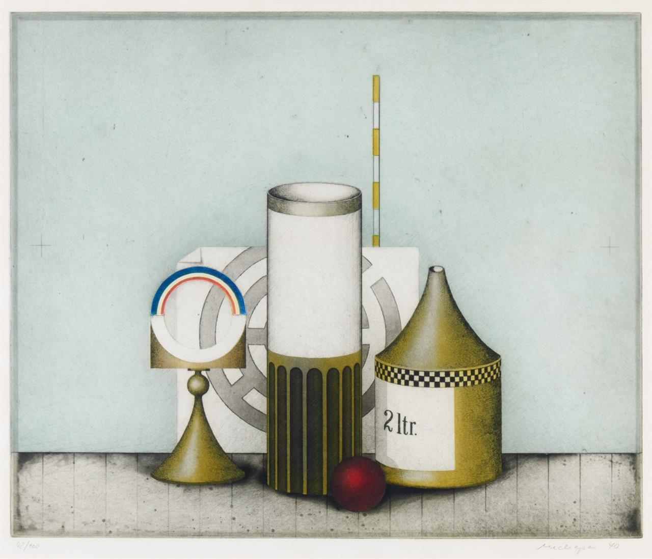 Friedrich Meckseper. Blaues Stillleben. 1970. Farbradierung. Signiert. Ex. 42/100. Schmücking 124.