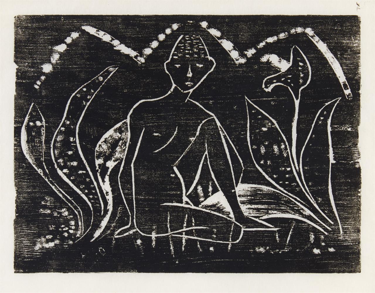 Otto Mueller. Knabe zwischen Blattpflanzen / Mädchen zwischen Blattpflanzen. 1912 (1945/1952). Posthume Abzüge.  Karsch 2 II A, 3 II A.