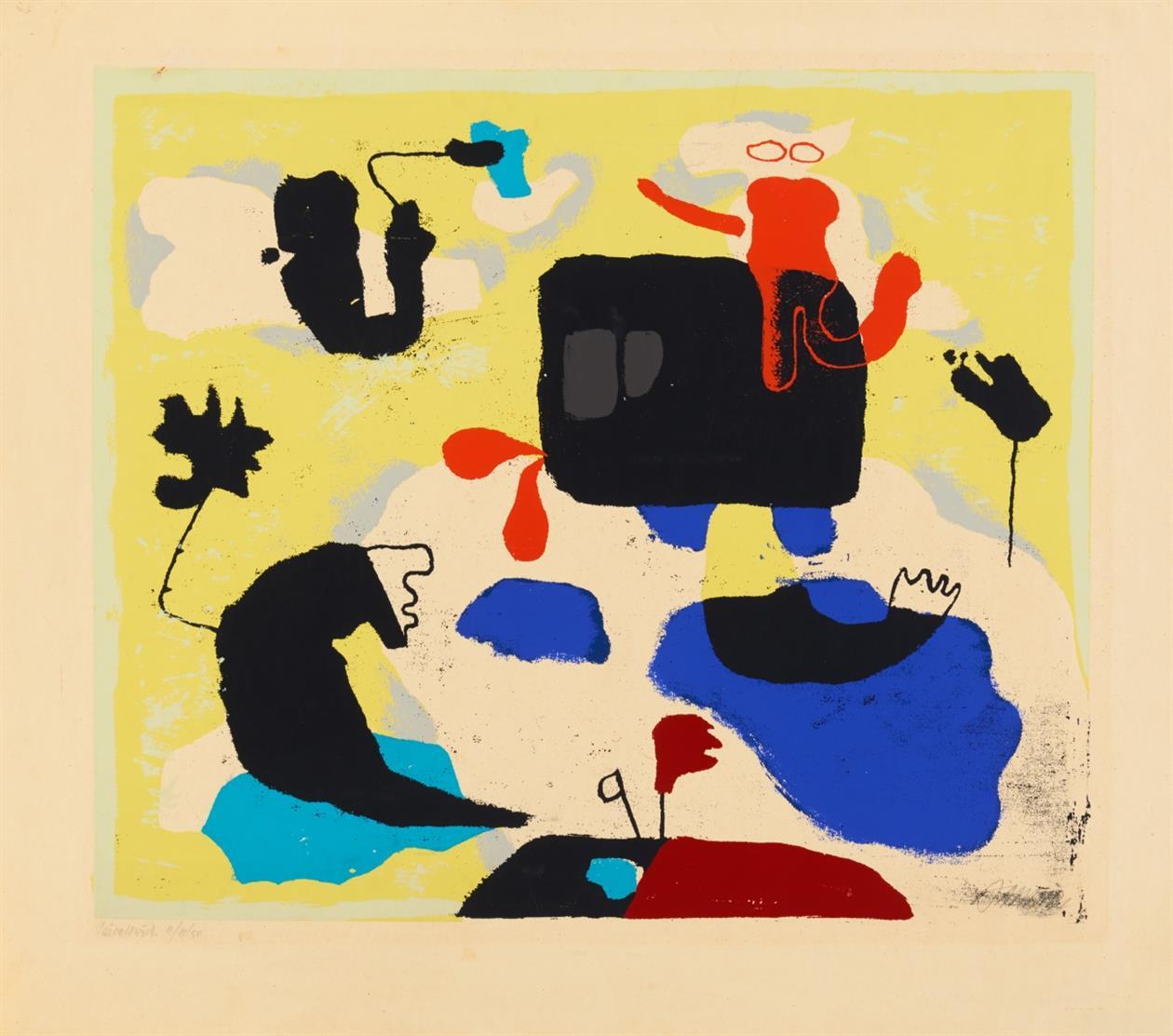 Willi Baumeister. Moby Dick. 1951. Farbserigraphie. Signiert. Privatdruck II/III/50. Spielmann 175.