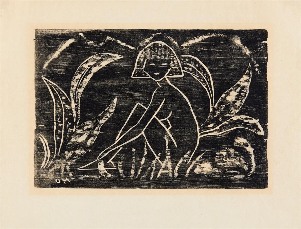 Otto Mueller. Mädchen zwischen Blattpflanzen. 1912 (1945/1952). Posthumer Abzug.  Karsch 3 II A.