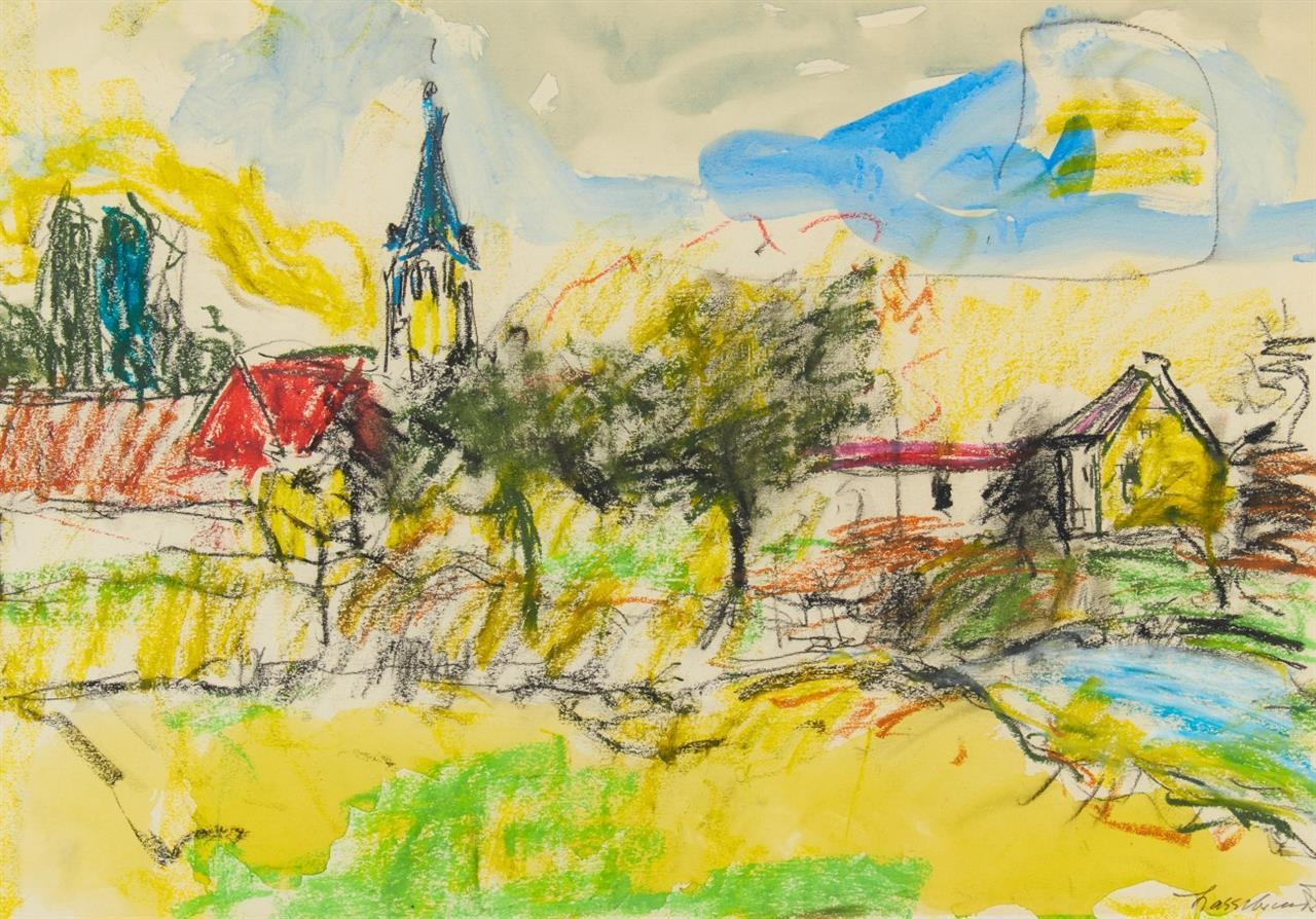 Ernst Hassebrauk. Dorflandschaft. Aquarell und Farbkreide. Signiert.